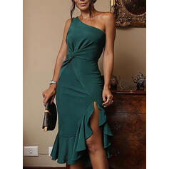 Solid Sleeveless Sheath Knee Length Party/Elegant Dresses