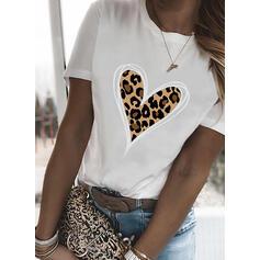 леопард Сердце Распечатать Шею С коротким рукавом Футболки