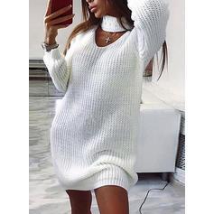 Jednolita Długie rękawy Bodycon Nad kolana Casual Sweter Sukienki