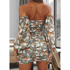 Print/Floral 3/4 Sleeves Bodycon Above Knee Sexy/Casual Dresses