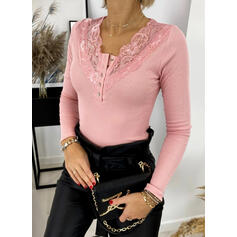 Solid Lace V-Neck Long Sleeves Button Up Elegant Knit Blouses