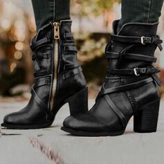 Bayanlar PU Tıknaz Topuk Pompalar bot ayakkabı Ile Toka Fermuar ayakkabı