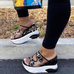 Pentru Femei PU Platforme Înalte Sandale Platformă Platforme Puţin decupat în faţă cu De la gât înafară pantofi