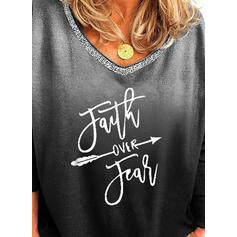 Print Sequins Figure Gradient Round Neck Long Sleeves Casual T-shirts
