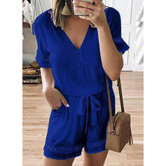 Solid Short Sleeves A-line Casual Dresses