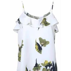 Распечатать Цветочный Спагетти Ремень С коротким рукавом Повседневная Блузы