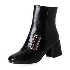 De mujer PU Tacón ancho Salón Botas Botas al tobillo con Hebilla Cremallera zapatos