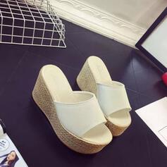 Women's Suede Wedge Heel Sandals Peep Toe Slippers shoes