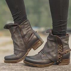 Pentru Femei PU Toc gros Botine Deget rotund cu Nit Cataramă Culoare solida pantofi