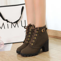 Mulheres PU Salto robusto Bombas Fechados Botas Toe rodada com Fivela Aplicação de renda Cor sólida sapatos