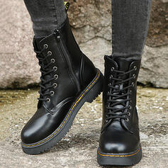 Mulheres PU Salto robusto Martin botas com Zíper Aplicação de renda Cor sólida sapatos