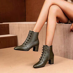 Women's Leatherette Chunky Heel Pumps Boots Ankle Boots Pointed Toe With Zipper Button shoes