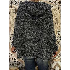Jednolity Bluza z kapturem Oversize Casual Swetry