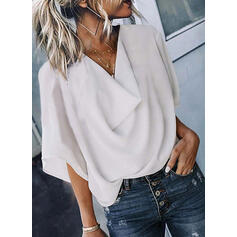 Solid V-Neck 1/2 Sleeves Casual Elegant Blouses