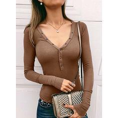 твердый V шеи Длинные рукова Кнопка вверх Повседневная Базовый Вязание Блузы