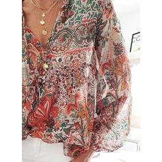 Распечатать Цветочный V шеи Фонарь рукав Длинные рукова Повседневная Блузы