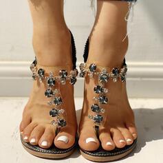 Mulheres PU Sem salto Sandálias Sem salto Peep toe Chinelos Chinelos com Strass sapatos