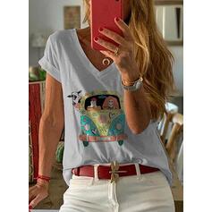 Zwierzęcy Dekolt w kształcie litery V Krótkie rękawy Casual T-shirty
