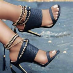 Bayanlar PU Topuklu ayakkabı Sandalet Pompalar Peep Toe topuk Ile Zincir Oymak Püskül Katı Renk ayakkabı
