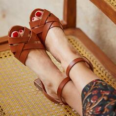 Mulheres PU Salto robusto Sandálias Bombas Saltos com Fivela sapatos