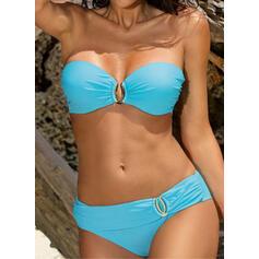 Enfärgad Låg Midja Grimma fashionabla bikini Badkläder