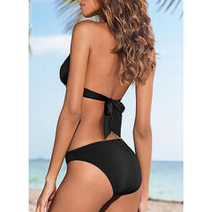 Solid Color Triangle Halter Sexy Attractive Bikinis Swimsuits