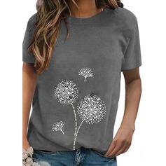 Print Round Neck Korta ärmar Fritids T-shirts