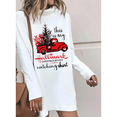 Print Long Sleeves Shift Above Knee Christmas/Casual Sweatshirt Dresses