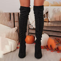 Pentru Femei Piele de Căprioară Toc gros Gizme Peste Genunchi Cizme de Călărit Deget rotund cu Drapată Fermoar Culoare solida pantofi