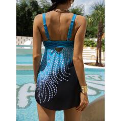 Print Stropp Sexy Elegant Pluss størrelse Badekjoler Badedrakter