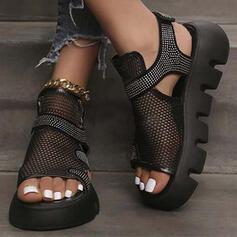 Женский ткань меш Танкетка Сандалии Peep Toe с Выдолбить Сплошной цвет обувь