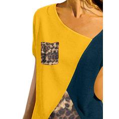 Blok Kolorów Dekolt w kształcie litery V Krótkie rękawy Casual Dzianina podkoszulek