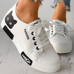 Dla kobiet Płótno Płaski Obcas Plaskie Round Toe Niesznurowane mokasyny Z Nadruk Zwierzęcy Sznurowanie obuwie