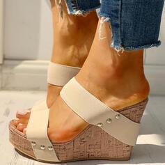 Women's PU Wedge Heel Sandals Wedges Peep Toe Slippers With Rivet shoes