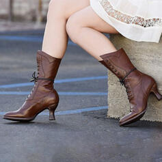 Kvinnor PU Kitten Heel Stövlar Halva Vaden Stövlar med Bandage skor