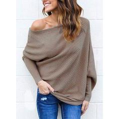 Sólido Um ombro Casual Sexy Suéteres