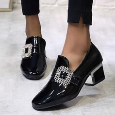 Női PU Chunky sarok Magassarkú Alacsony felső -Val Hegyikristály cipő
