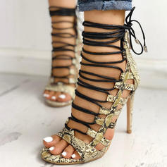 Women's PU Stiletto Heel Sandals Peep Toe With Animal Print Lace-up shoes