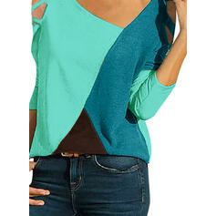 Bloque de color Cuello en V Mangas 3/4 Casual Blusas