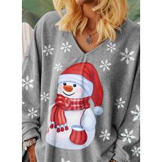 Impresión Cuello en V Manga Larga Casual Navidad Camisetas