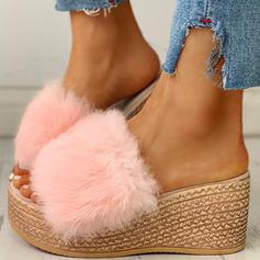 Bayanlar Kumaş Düz topuk Sandalet Takozlar Peep Toe Terlik topuk Ile Kürk ayakkabı