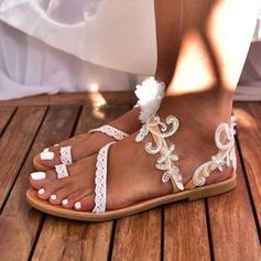 Женский PU Плоский каблук Сандалии Кольцо пальца ноги с Цветок обувь