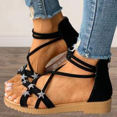 Women's PU Flat Heel Sandals Flats Peep Toe With Zipper Lace-up shoes
