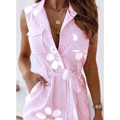 Распечатать/Цветочный безрукавный ножны Выше колена Повседневная Рубашка Платья