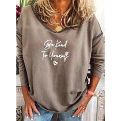 Print Figure Heart V-Neck Long Sleeves Sweatshirt