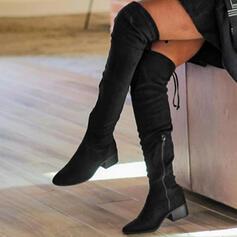 Női Szarvasbőr Chunky sarok Csizma -Val Cipzár Lace-up Szolid szín cipő