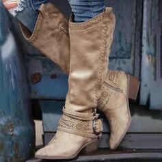 De mujer PU Tacón ancho Botas a la rodilla Dedo del pie puntiagudo con Hebilla Cremallera Agujereado Color sólido zapatos