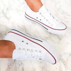 Dla kobiet Płótno Płaski Obcas Plaskie Round Toe Espadrille Z Sznurowanie obuwie