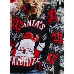 Print Cartoon Round Neck Casual Christmas Sweaters