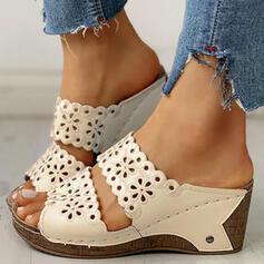 Pentru Femei PU Platforme Înalte Sandale Puţin decupat în faţă Şlapi cu De la gât înafară pantofi